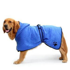 Pet Bathrobe Fast Dry Pet Bath Towel Quickly Absorbing Water Bath Robe Blue L