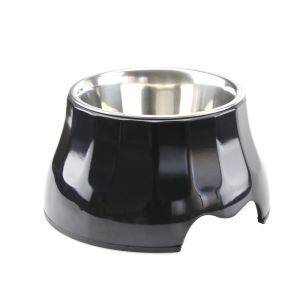 High Quality Dog Bowl Detachable Antiskid Stainless Steel Pet Feeding Black