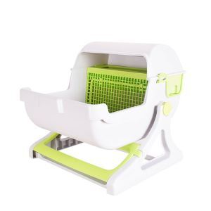 Luxury Cat Toilet Semi Automatic Quick Cleaning Litter Box Green