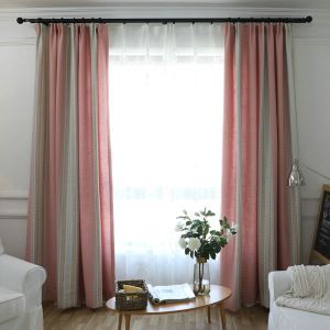 American Country Blackout Curtian Pink Jacquard Room Darkening Curtain Panel for Kids Room