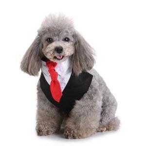Formal Dog Tuxedo Dog Bandana with Bow Tie and Cravat Designs Black SJJ01