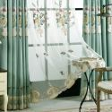 Breathable Embroidery Sheer Curtain American Luxury Window Treatment (One Panel)