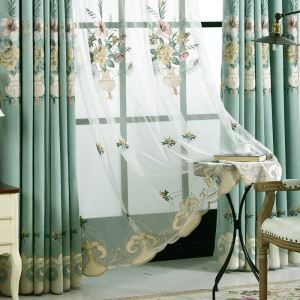 Breathable Embroidery Sheer Curtain American Luxury Window Treatment