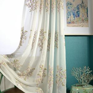 Spring Tree Sheer Curtain Modern Minimalist Window Treatment