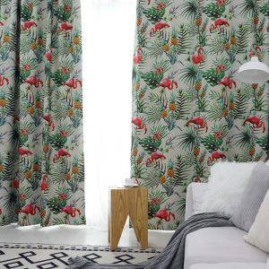 Bird Print Curtain Flamingo Design Animal Jungle Theme Curtain