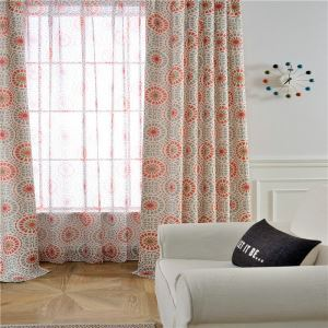 American Style Abstract Curtain Printed Bedroom Curtain