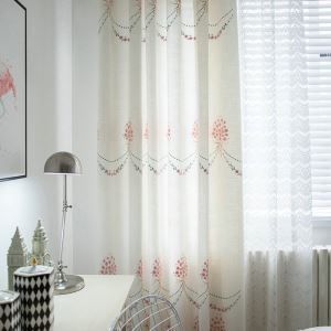 Pink Embroidered Curtain Japanese Pastoral Children's Room Curtain