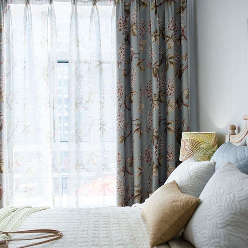 Modern Rural Curtain Spray Printed Curtain Bedroom