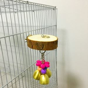 Parrot Toy Cage Parrot Wooden Platform Small Medium Parrot Bite Toy with Bell