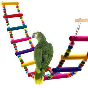 Parrot Colorful Rotating Ladder Wooden Beads Climbing Drawbridge Ladder
