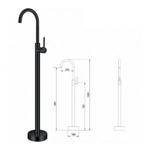 Floor Mounted Free Standing Bathtub Faucet with Sprayer Black A/D5688