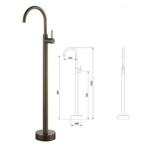 Floor Mounted Bathtub Faucet Golden Hot and Cold A/D5688