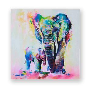 Frameless Oil Painting Elephant Modern Minimalist Canva