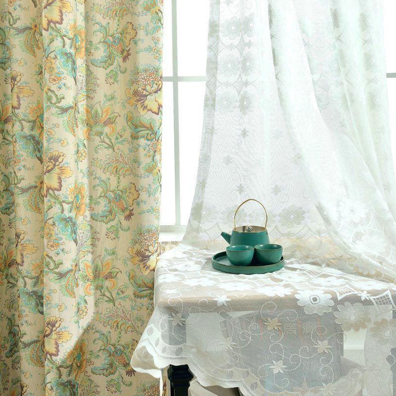 American Rural Curtain Elegant Flower Curtain Bedroom