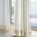 Japanese Simple Sheer Curtain Large Stripes Jacquard Sheer Curtain White Flax Fabric(One Panel)