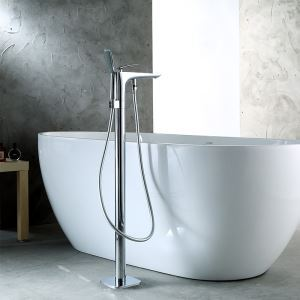 Floor Mounted Bathtub Faucet Chrome Free Standing Bathroom Tub Filler 18D026