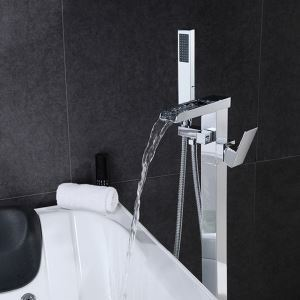 Floor Mounted Bathtub Faucet Chrome Free Standing Bathroom Tub Filler LDTZ019