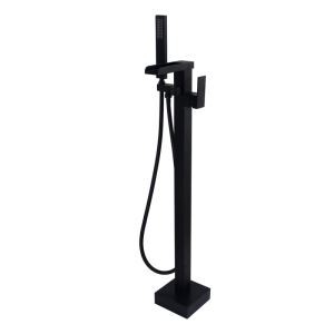 Floor Mounted Bathtub Faucet Black Free Standing Bathroom Tub Filler LDTZ019