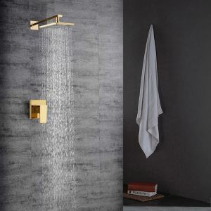 Bathroom Shower Faucet Set PVD Golden In-Wall Shower Tap