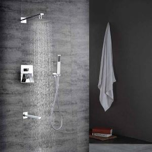 Bathroom Shower Faucet Set Chrome In-Wall Rainshower & Handshower & Tub Spout Set