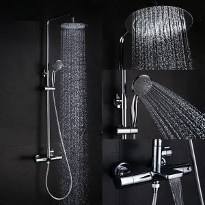 Thermostatic Shower Faucet Set Chrome with Hand Shower Round Shower Head