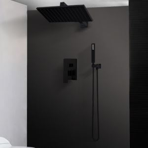 Bathroom Shower Faucet Set Baking Varnish Black  In-Wall Shower Faucet