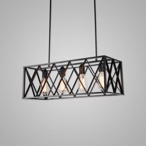 Nordic Retro Creative Geometric Iron Craft Pendant Light Cafe Restaurant Bar Lighting 4 Lights