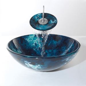 Tempered Glass Vessel Blue Sink With Waterfall Faucet ,Pop - Up drain and Mounting Ring