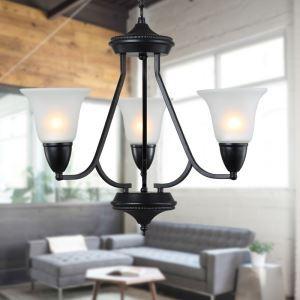 3 Light 21 inch Ceiling Light Fixture, Black