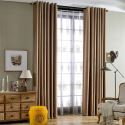 Solid Color Curtains Thickened Cotton and Linen Black Silk Blackout Curtains Japanese Style Curtains (One Panel)