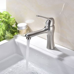 Centerset Bathroom Faucet Brushed Single Hole Single Handle Hot and Cold Water Dispenser