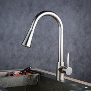 Pull-Down Sprayer Kitchen Faucet Brushed Single Handle Faucet BL0759-1N