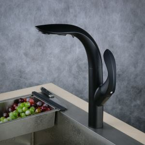Pull-Down Sprayer Kitchen Faucet Black Single Handle Faucet BL8803B