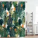 Modern Shower Curtain Green Banana Leaf Printed Shower Curtain Waterproof Mouldproof Bathroom Curtain(One Panel)