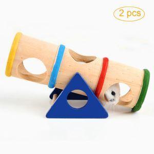 Pet Wooden Rainbow Seesaw Hamster Cobaya Sports Toy 2 Pcs