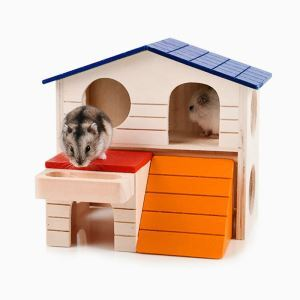 Hamster Wooden House Two Floors Big Wooden Villa Hamster Rest Place
