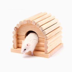 Hamster Wooden House Log Cabin Rest Supplies