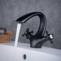 Modern Matte Black Arc Sink Faucet Dual Handles Bathroom Mixer Tap BL6046BT