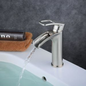 Contemporary Sink Faucet Nickel Brushed Sink Faucet Single Handle Bathroom Tap BL6080N