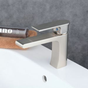 Contemporary Sink Faucet Nickel Brushed Sink Faucet Single Handle Tap BL6308N
