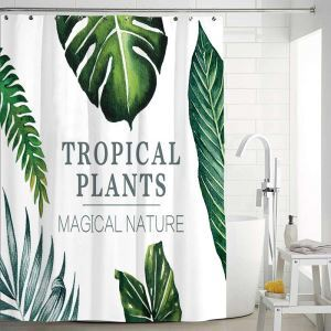 Modern Simple Shower Curtain Banana Leaves Printed Shower Curtain Polyester Fabric