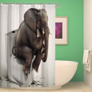 Waterproof Shower Curtain Weird Elephant Lifelike Printed Polyester Fabric