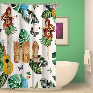 Waterproof Mouldproof Shower Curtain Tropical Style Polyester Fabric