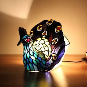 Animal Lamp Animal Style Peacock Tiffany Table Lamp Blue