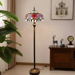 Tiffany Floor Lamp Handmade Stained Glass Shade Standard Lamp Colorful Roses Design