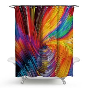 Waterproof Cool Shower Curtain Contrast Oil Painting Bath Curtain