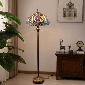 Tiffany Floor Lamp Handmade Stained Glass Shade Standard Lamp Euporean Style