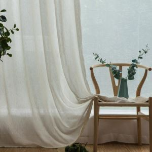 Japanese Classical Sheer Curtain Solid Engineering Sheer Curtain(One Panel)