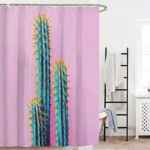 Waterproof Mouldproof Shower Curtain Cool Contrast Cactus Printed Bath Curtain