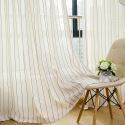 Nordic Simple Sheer Curtain Stripes Jacquard Sheer Curtain Environment Protective Linen Blended Fabric(One Panel)